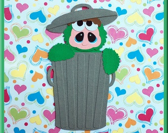 GROUCHY MONSTER Embellishments Paper Piecing card making and scrapbooking