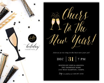 New Year's Eve Party Invitation, New Years Eve Invite, New Years Bash, New Years Party, Gold Confetti New Years Invitation, 5x7 Black Gold