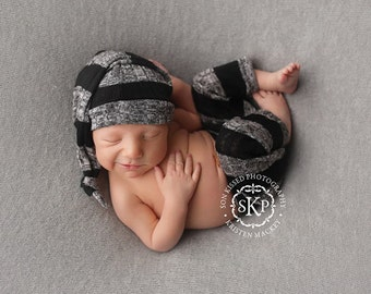 Newborn boy simple pants and sleepy hat set (Lucas) - photography prop - black, grey, charcoal