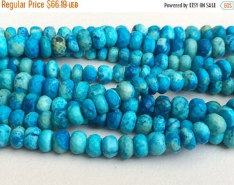 60% HOLIDAY SALE Turquoise Faceted Rondelle Beads, Chinese Turquoise Beads, Turquoise Necklace 5-11mm, 8 Inch, 35 Pcs - GSA2