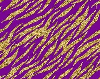 Purple and Gold Tiger Stripe Printed Vinyl