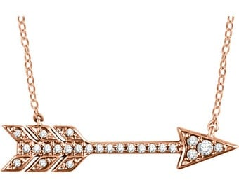 Diamond Arrow Necklace - 14k Rose, Yellow & White Gold. Valentine's Gift Idea for Her