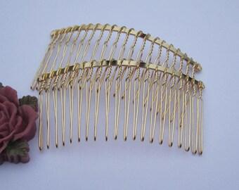 Combs, hair combs, metal combs, Gold combs, 10pcs Gold Metal Hair Combs (20 teeth) 75x38mm