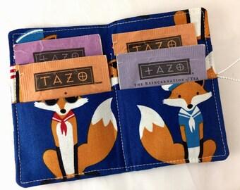 Blue Tea Wallet Tea Bag Wallet - Foxes Tea Bag Case Tea Bag Holder Tea Holder Tea Bag Cozy - Tea Bag Organizer - Sailor Foxes  in Navy