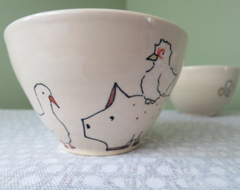 Handmade Ceramic Cereal or Soup Bowl - Farm Animals - Pig Ceramics - Chicken Pottery - Duck Pottery
