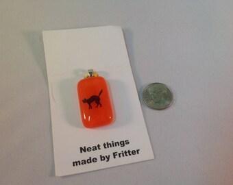 Fused Glass Cat pendant, C1