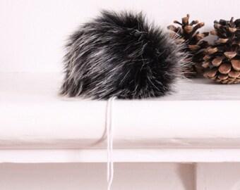 Faux Fur Pom Pom. Black Wolf Faux Fur Pompom. Hat Pompoms. Fur Pompoms.