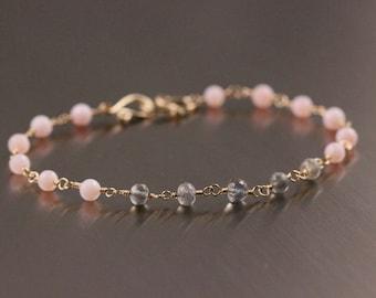 AAA Pink Peruvian Opal Bracelet, Labradorite Bracelet, October Birthstone, Pink and Gray, Rosary Wire Wrapped Bracelet