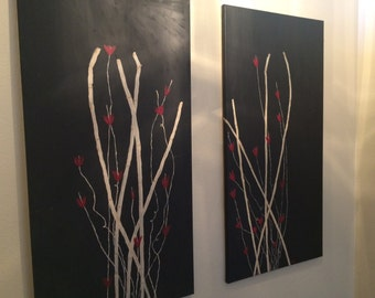Bamboo and red flower abstract acrylic painting on wrapped canvas