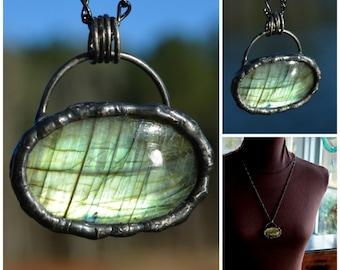 Artisan Jewelry, Labradorite Pendant, Extra Long Chain, Handmade Artisan Jewelry, Labradorite Jewelry, Artisan Handmade Necklace, (2656)