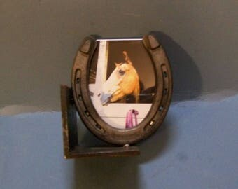 horse shoe picture bookend