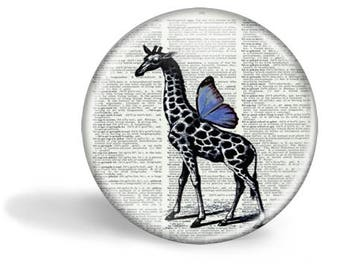 Giraffe with Wings Magnet Giraffe with Wings Giraffe with Wings Mirror Button Pin HHP Original Gift Under 5