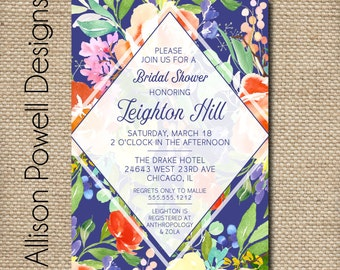 Watercolor Floral Bouquet Bridal Shower, Bridal Luncheon, Spring, Summer Invitations - Print your own