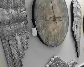 Reclaimed wood and tin hand painted oversized angel wings pair