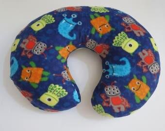 Monsters on Navy Blue fleece Boppy or nursing pillow cover
