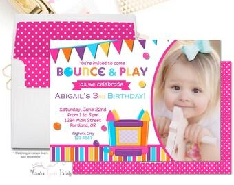 Bounce House Birthday Invitation - Bounce House Party Invitation - Bounce House Invitation - Bounce House Invite - Ball Pit - Girls Birthday