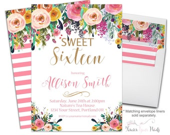 Girls FLORAL Sweet 16 Invitation - Girls 16th Birthday Invitation - Sweet Sixteen Invitation - Floral Invitation- Floral Invite - Watercolor