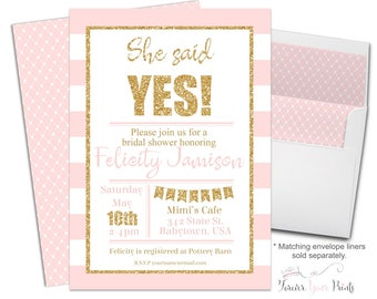 Bridal Shower Invitation Pink and Gold Glitter Stripes Bridal Luncheon Bridal Brunch Bridal Tea She Said Yes Engagement Invite Bride To Be