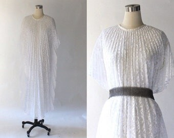 1970s Pleated Lace Kaftan Dress // 70s Vintage Long White Formal Caftan Maxi Dress // Medium - Large