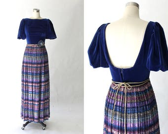1970s Metallic Striped Maxi Dress with Velvet Bodice // 70s Vintage Long Evening Gown with Low Back // Small
