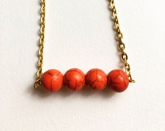 Red Howlite Gold Necklace