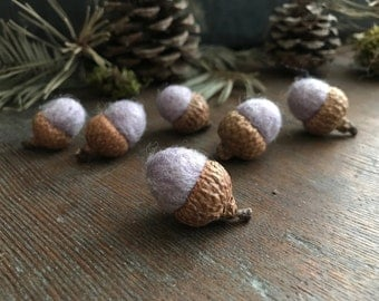 Felted wool acorns, set of 6, Purple Heather, purple felt acorns, woodland birthday decor, waldorf gift, needle felted acorn, teacher gifts