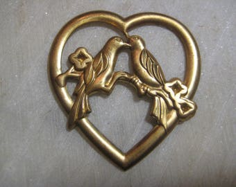 Vintage Heart Stamping, 1970s Love Birds Openwork Pendant, Raw Stamped Brass Jewelry Finding, Scrapbooking, Embellishment, 50x46mm, 1 pc.