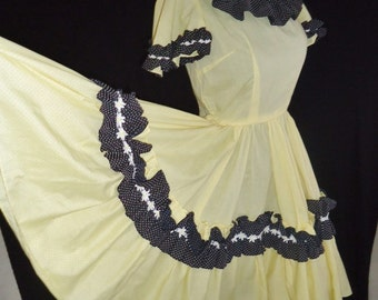 Yellow Swiss Dot FULL CIRCLE Vintage 1950's Rockabilly Square Dancing Dress XS S