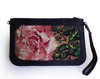 SALE Large black clutch with rose needlepoint, Leather clutch, black wallet, Needlepoint tapestry wallet