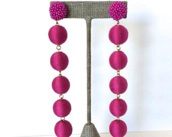 Bon Drop Earrings // 6 tier with a beaded stud top //Dark Pink