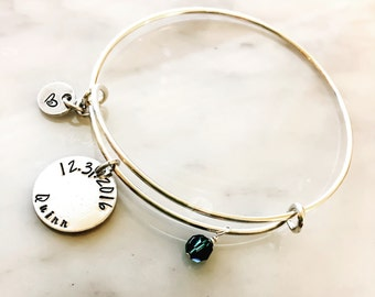 Custom Charm Bangle Bracelet, Custom Stamped Adjustable Bangle, Personalized  Adjustable Bracelet, Birthday Best Life Ever Love Birth Greek