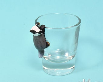 Hand Sculpted European badger 1.5 oz Shotglass
