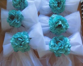 Set of 6 Tulle and Peony Pew Bow Decorations, Tulle and Peony Chair Decorations, Turquoise Pew Bows, Aisle Bows, Aisle Decor