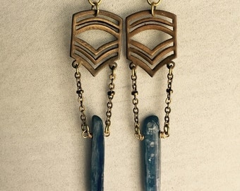 Mermaid Dagger Earrings...Kyanite Spears on Vintage Raw Brass Chevrons