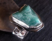 Natural Columbian Emerald Ring Size 9 1/2 Raw Gemstone Ring Raw Emerald Ring Boho Ring Black Diamond Ring Unique Wedding Band River Ring
