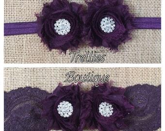 Plum Lace Headband, Eggplant Lace Headband, Shabby Chiffon Flower Headband- Eggplant Elastic Headband- Flower Girl Headband, Wedding