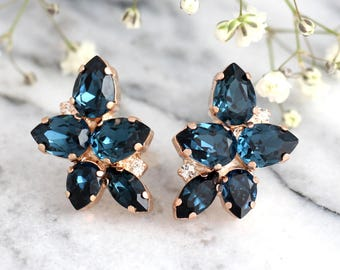 Blue Navy Earrings, Dark Blue Earrings, Bridal Blue Earrings, Swarovski Earrings, Bridesmaids Earrings, Gift For Her, Blue Crystal Earrings