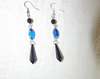 Jet, blue and silver earrings