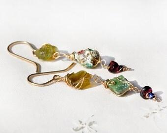Roman Glass Jewelry Long Roman Glass Earrings+ Garnets& Lapis Lazuli  Gold Filled Earrings Made in Israel Gold Filled Jewelry Free Shipping