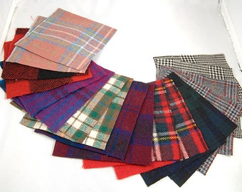 WOOL CHARM PACK Plaids and Tartans 18 Count 5 Inch Reclaimed Fabric Squares 1855
