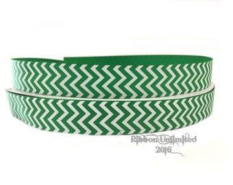 10 Yds. WHOLESALE 7/8 Inch Green & White Chevron grosgrain ribbon LOW SHIPPING Cost