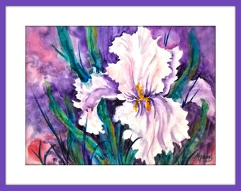 Watercolor White Iris, Watercolor Gesso, White Flower, Purple White, Green Purple, Iris Art, Art With Heart, Original Art