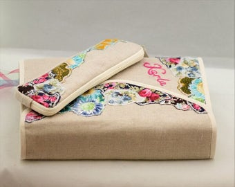 Personal Bible cover, Journal Cover  in  linen with flower patched detail ,linen,cotton, custom made