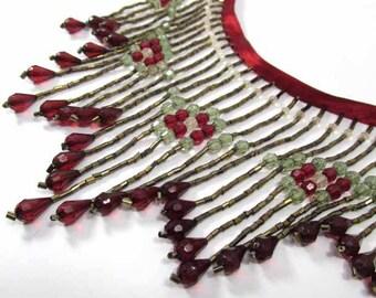 Elegance in Dark Red, Sage Green and Bronze 4.5 inch Long Beaded Fringe Trim