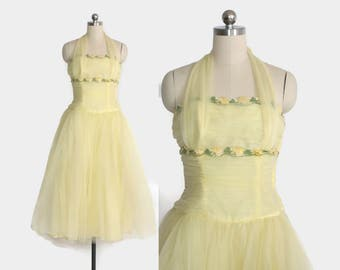 Vintage 50s PARTY DRESS / 1950s Yellow Floral Chiffon Draped Swag Strapless Prom Dress XS - S