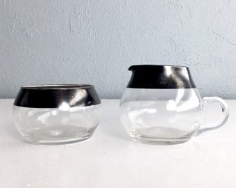 Silver Rim Creamer and Sugar, Mad Men Style Roly Poly Glass, Dorothy Thorpe Glasses