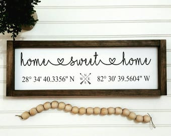 Home Sweet Home Wood Sign, Home Sweet Home, Custom Wooden Signs, Housewarming Gift, Coordinates Wooden Sign, Latitude Longitude, GPS Sign