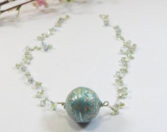Blue Silver Enamel Necklace, Enameled Aquamarine Sterling Silver Focal w Swarovski Crystal Necklace, Handmade Enamel Silver Necklace