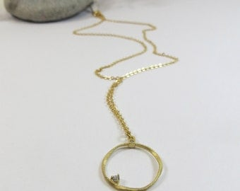 Ring Pendant Necklace with Tiny Zircon Goldtone Pendant, Simple Sparkly Necklace