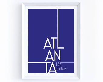 Custom Atlanta Mileage Digital Print - 5 by 7 Inches, Printable, Customization, Miles Between You & Atlanta, Georgia, Purple, Typography